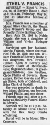 """Ethel V. Francis,"" obituary, The Times Recorder (Zanesville, Ohio), 25 May 1990, p. 7, col. 1."