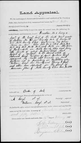 Noble County Courthouse, Caldwell, Ohio, Divorce Files, Box 8, Noble Common Pleas, Cosgrove Moore and Company vs. Ezra Moore, April term 1882. Film 004022996, Img 1474. Evidence, Land Appraisal, 74 acres, Susanna Coyl, widow of Andrew Coyle, 14 Feb 1880.