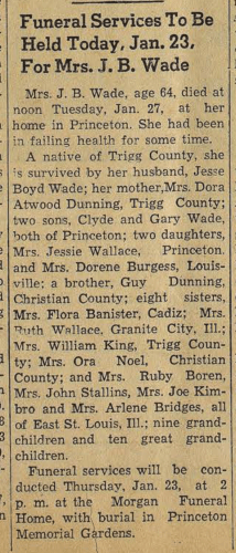 """Funeral Services to be Held Today, Jan. 23, for Mrs. J. B. Wade,"" obituary, The Cadiz Record (Cadiz, Kentucky), 23 Jan 1964, p. 1, col. 2"