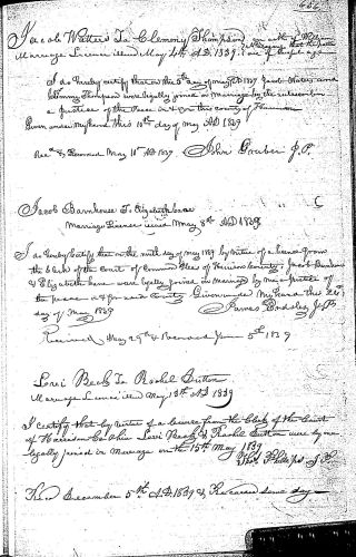 Harrison County, Ohio, Marriage Records 1828-1840, vol. B, p. 636, Barnhouse–Cane, 9 May 1839.