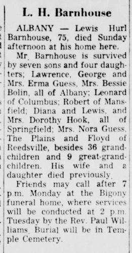 """""""L. H. Barnhouse,"""" obituary, Athens Messenger (Athens, Ohio), 23 Dec 1963, p. 9, col. 3."""