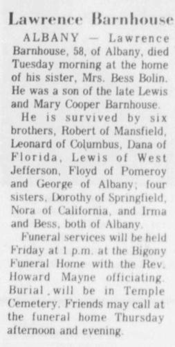 """Lawrence Barnhouse,"" obituary, Athens Messenger (Athens, Ohio), 24 Nov 1971, p. 6, col. 1."