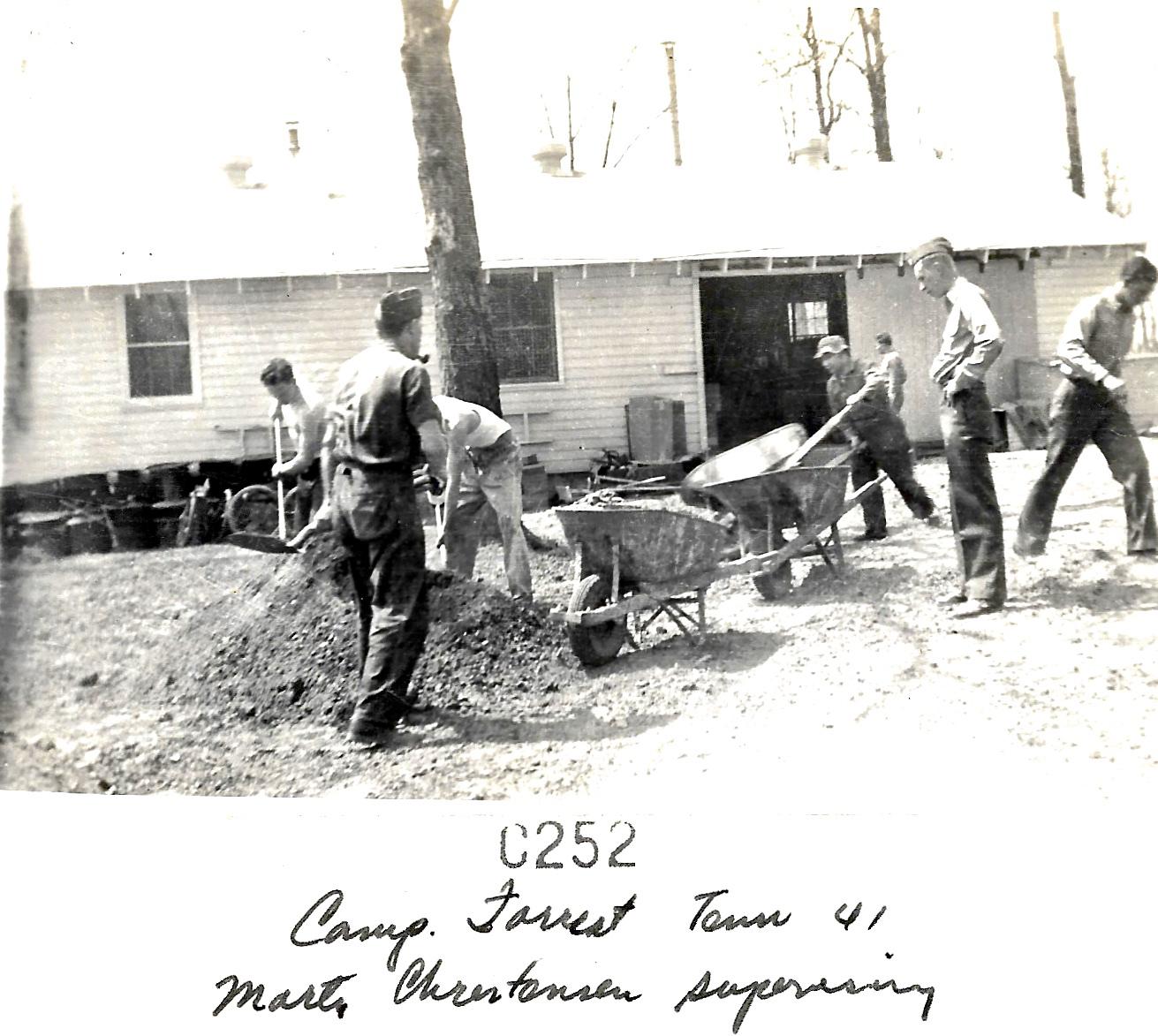 1941 Marty Christensen supervising, Camp Forrest Tenn 1941