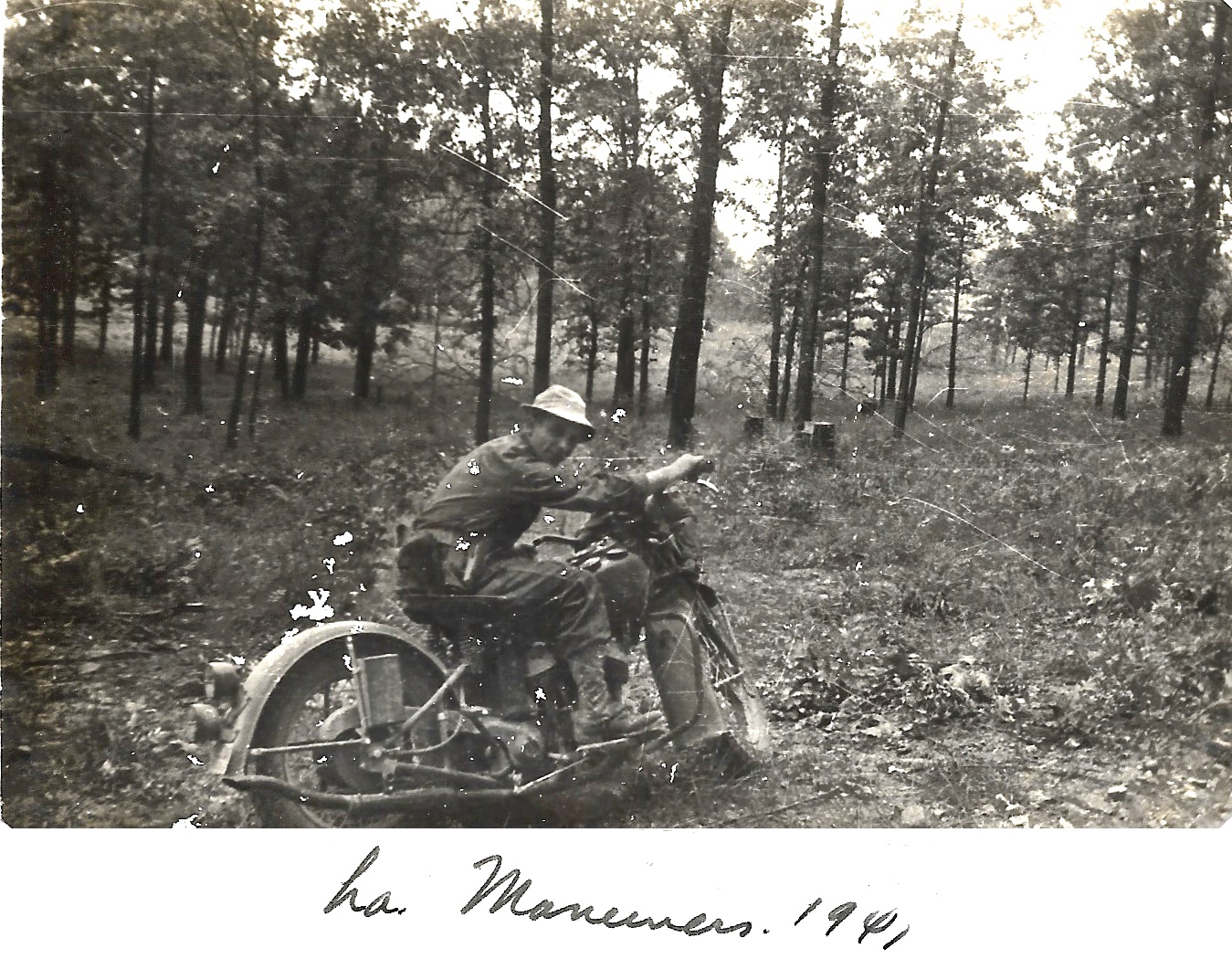 1941 Louisiana Maneuvers. Unknown person on motorcycle