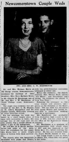 """Newcomerstown Couple Weds,"" Charles W. Barnhouse and Mary Barbara Kratz marriage announcement, The Daily Times (New Philadelphia, Ohio), 25 Apr 1945, p. 3, col. 2."