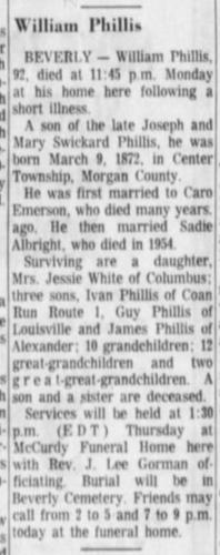 """""""William Phillis,"""" obituary, The Times Recorder (Zanesville, Ohio), 22 July 1964, p. 6, col. 3."""