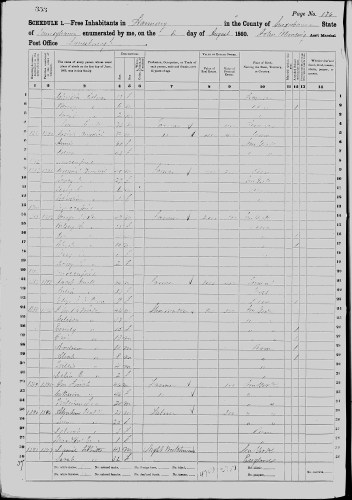 1860 U.S. census, Harmony, Susquehanna County, Massachusetts, population schedule, p. 176 (penned) 353 (stamped), dwelling 1387, family 1393, Jacob Newell household.