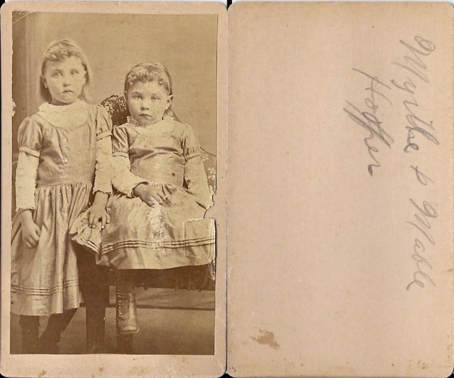 Myrtle and Mabel Hooper, ca. 1892, Kansas.
