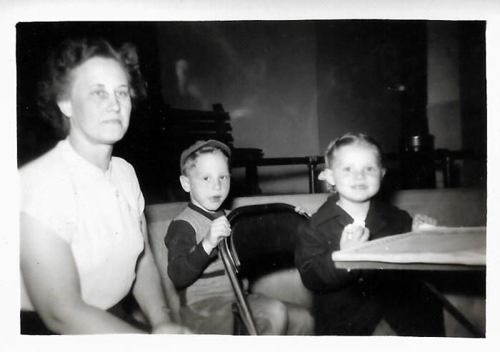 Eleanor Baird and Bob and Karen Faulkner, ca 1950.