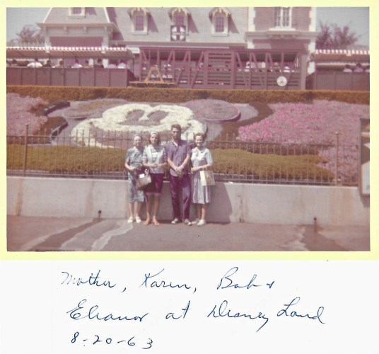 Myrtle Phillis, Karen and Bob Faulkner, Eleanor Baird at Disneyland, 1963
