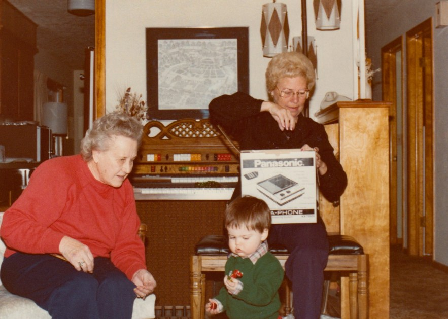 Eleanor Baird, Evelyn Faulkner, and Ryan Hull, Christmas 1983.