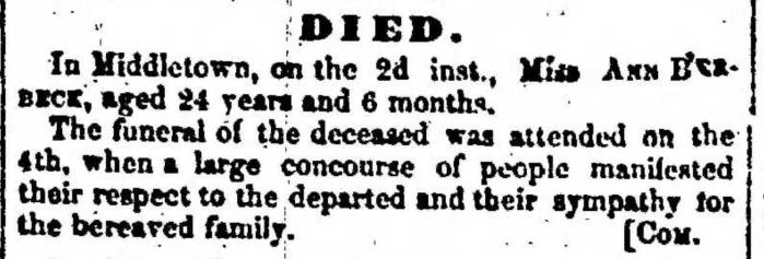 """Ann Birbeck,"" obituary, Montrose Independent Republican (Montrose, Pennsylvania), 10 Dec 1857, p. 3, col. 2."