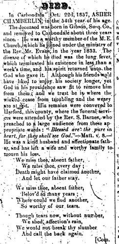 """Asher Chamberlin,"" obituary, Montrose Democrat (Montrose, Pennsylvania), 24 Dec 1857, p. 3, col. 1."