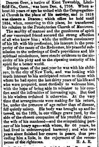 """Deacon David Geer,"" obituary, Montrose Independent Republican (Montrose, Pennsylvania), 30 Apr 1857, p. 3, col. 2."