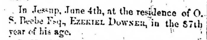 """Ezekiel Downer,"" obituary, Montrose Democrat (Montrose, Pennsylvania), 16 July 1857, p. 3, col. 1."