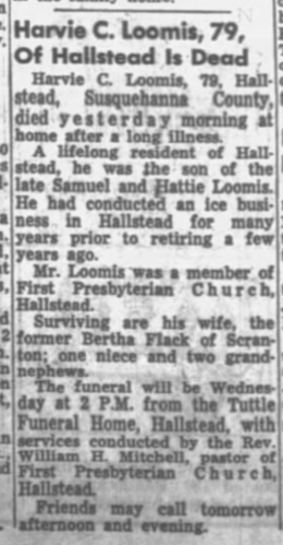 """Harvie C. Loomis, 79, of Hallstead is Dead,"" obituary, The Times-Tribune (Scranton, Pennsylvania), 18 Feb 1963, p. 10, col. 5."