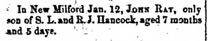 """John Ray Hancock,"" obituary, Montrose Democrat (Montrose, Pennsylvania), 29 Jan 1857, p. 3, col. 1."