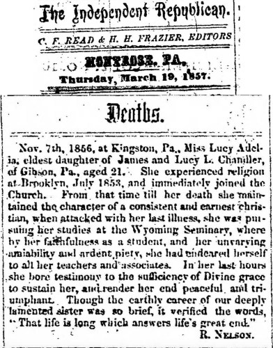 """""""Lucy Adelia Chandler,"""" obituary, Montrose Independent Republican (Montrose, Pennsylvania), 12 Mar 1857, p. 3, col. 1."""