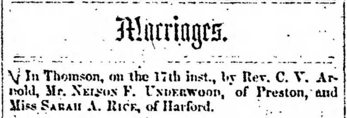 """""""Marriages, Nelson F. Underwood and Sarah A Rice,"""" marriage announcement, Montrose Independent Republican (Montrose, Pennsylvania), 29 Jan 1857, p. 3, col. 3."""
