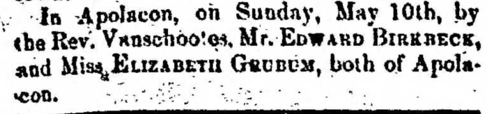 """Married, Edward Birkreck and Elizabeth Grubum,"" marriage announcement, Montrose Democrat (Montrose, Pennsylvania), 14 May 1857, p. 3, col. 1."