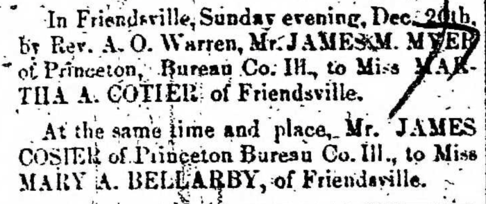 """Married, James Cosier and Mary A. Bellarby,"" marriage announcement, Montrose Democrat (Montrose, Pennsylvania), 24 Dec 1857, p. 3, col. 1."