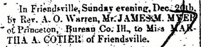 """""""Married, James M. Myer and Martha A Cotier,"""" marriage announcement, Montrose Democrat (Montrose, Pennsylvania), 24 Dec 1857, p. 3, col. 1."""