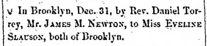 """Married, James M. Newton and Eveline Slauson,"" marriage announcement, Montrose Democrat (Montrose, Pennsylvania), 9 Jan 1857, p. 2, col. 6."