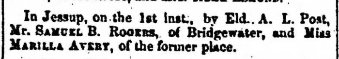 """Married, Samuel B. Rogers and Marilla Avery,"" marriage announcement, Montrose Independent Republican (Montrose, Pennsylvania), 10 Dec 1857, p. 3, col. 2."