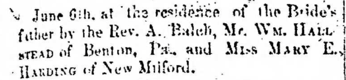 """""""Married, William Hallstead and Mary E. Harding,"""" marriage announcement, Montrose Democrat (Montrose, Pennsylvania), 18 June 1857, p. 3, col. 1."""