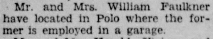 """Mr. and Mrs. William Faulkner Living in Polo,"" news article, Dixon (Illinois) Evening Telegraph, 24 Aug 1928, p. 8, col. 1."