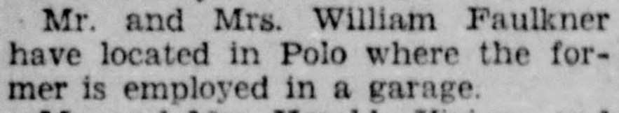 """Mr. and Mrs. William Faulkner Living in Polo,"" news article, Dixon (Illinois) Evening Telegraph, 24 Aug 1928, p. 8, col. 1."
