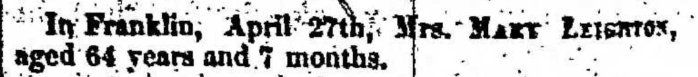 """Mrs. Mary Leighton,"" death notice, Montrose Independent Republican (Montrose, Pennsylvania), 14 May 1857, p. 2, col. 7."