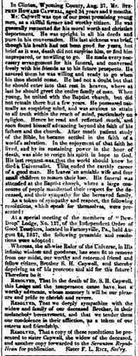 """S. H. Capwell,"" obituary, Montrose Independent Republican (Montrose, Pennsylvania), 10 Sept 1857, p. 3, col. 2."