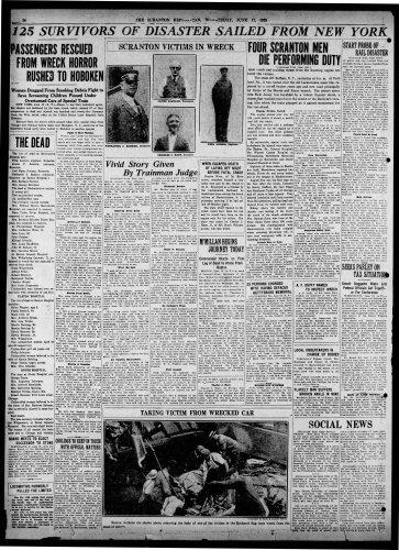 """Scranton Victims in Wreck,"" newspaper article, The Tribune (Scranton, Pennsylvania), 17 Jun 1925, p. 14."