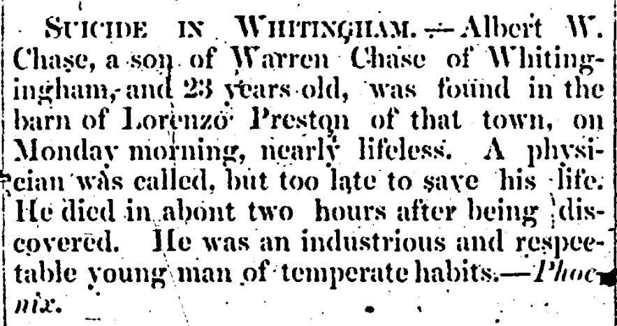 """""""Suicide in Whitingham,"""" Albert W. Chase death notice, The Caledonian (St. Johnsbury, Vermont), p. 3, col. 2."""