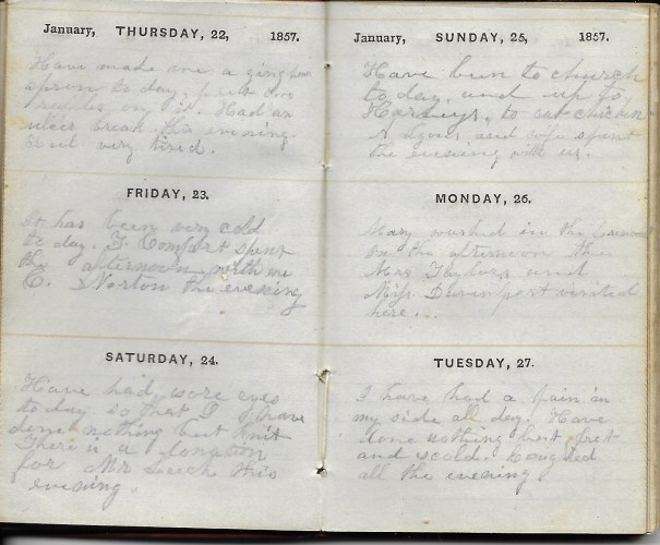 Ann M. Hull, Diary of 1857, (Susquehanna County, Pennsylvania), 22-27 January 1857, privately held by Faulkner-Hull Collection.