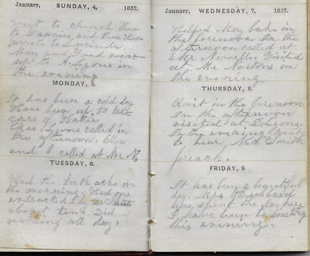 Ann M. Hull, Diary of 1857, (Susquehanna County, Pennsylvania), 4-9 January 1857, privately held by Faulkner-Hull Collection.