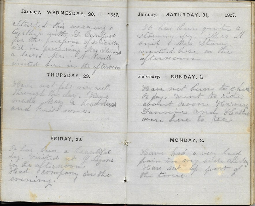 Ann M. Hull, Diary of 1857, (Susquehanna County, Pennsylvania), 1-2 Feb 1857, privately held by Faulkner-Hull Collection