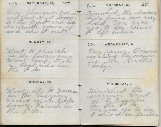 Ann M. Hull, Diary of 1857, (Susquehanna County, Pennsylvania), 1-2 July 1857, privately held by Faulkner-Hull Collection