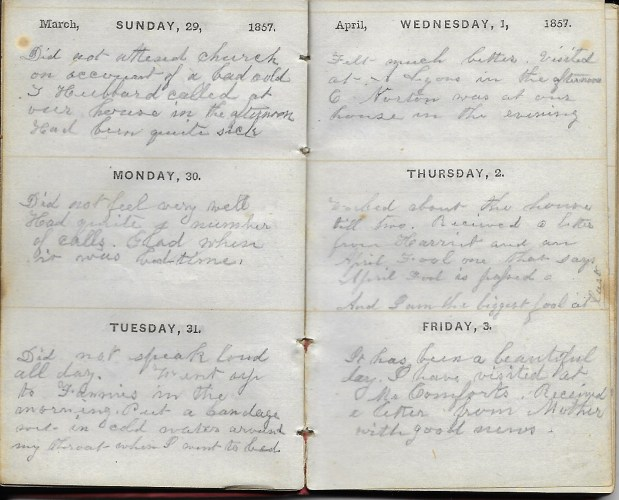 Ann M. Hull, Diary of 1857, (Susquehanna County, Pennsylvania), 1-3 April 1857, privately held by Faulkner-Hull Collection
