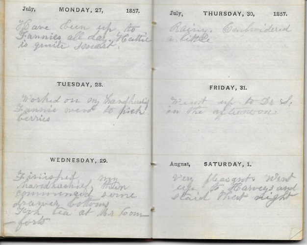 Ann M. Hull, Diary of 1857, (Susquehanna County, Pennsylvania), 1 August 1857, privately held by Faulkner-Hull Collection