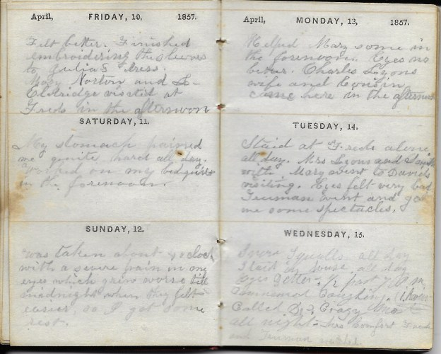 Ann M. Hull, Diary of 1857, (Susquehanna County, Pennsylvania), 10-15 April 1857, privately held by Faulkner-Hull Collection