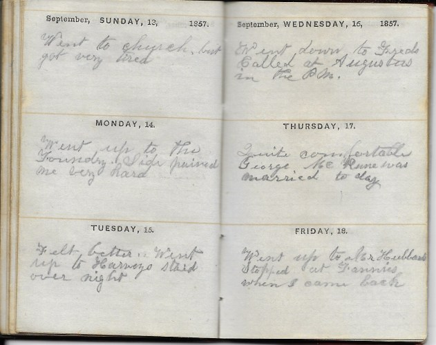 Ann M. Hull, Diary of 1857, (Susquehanna County, Pennsylvania), 13-18 September 1857, privately held by Faulkner-Hull Collection