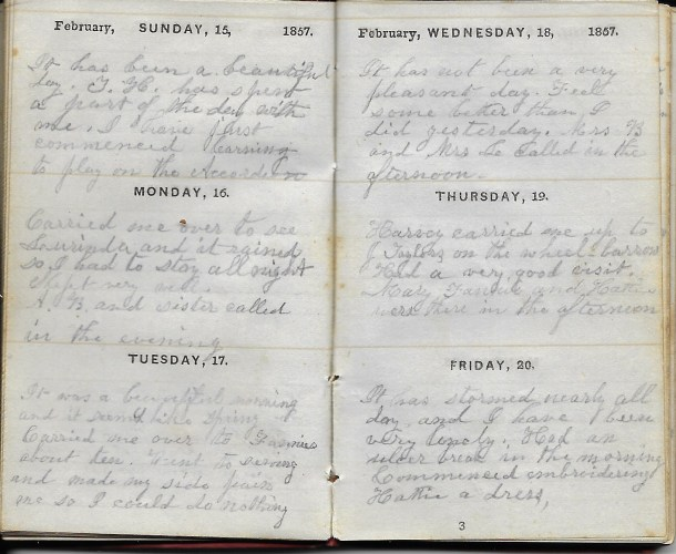 Ann M. Hull, Diary of 1857, (Susquehanna County, Pennsylvania), 15-20 Feb 1857, privately held by Faulkner-Hull Collection