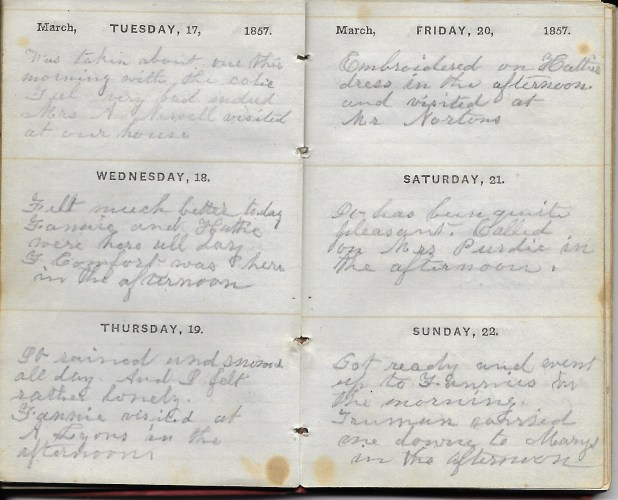 Ann M. Hull, Diary of 1857, (Susquehanna County, Pennsylvania), 17-22 March 1857, privately held by Faulkner-Hull Collection