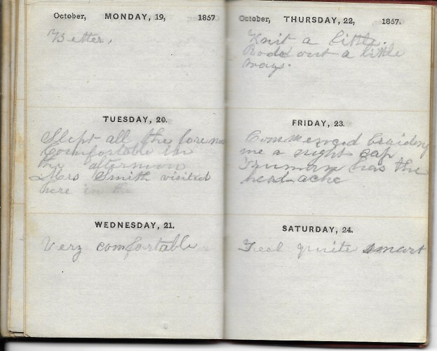 Ann M. Hull, Diary of 1857, (Susquehanna County, Pennsylvania), 19-24 October 1857, privately held by Faulkner-Hull Collection