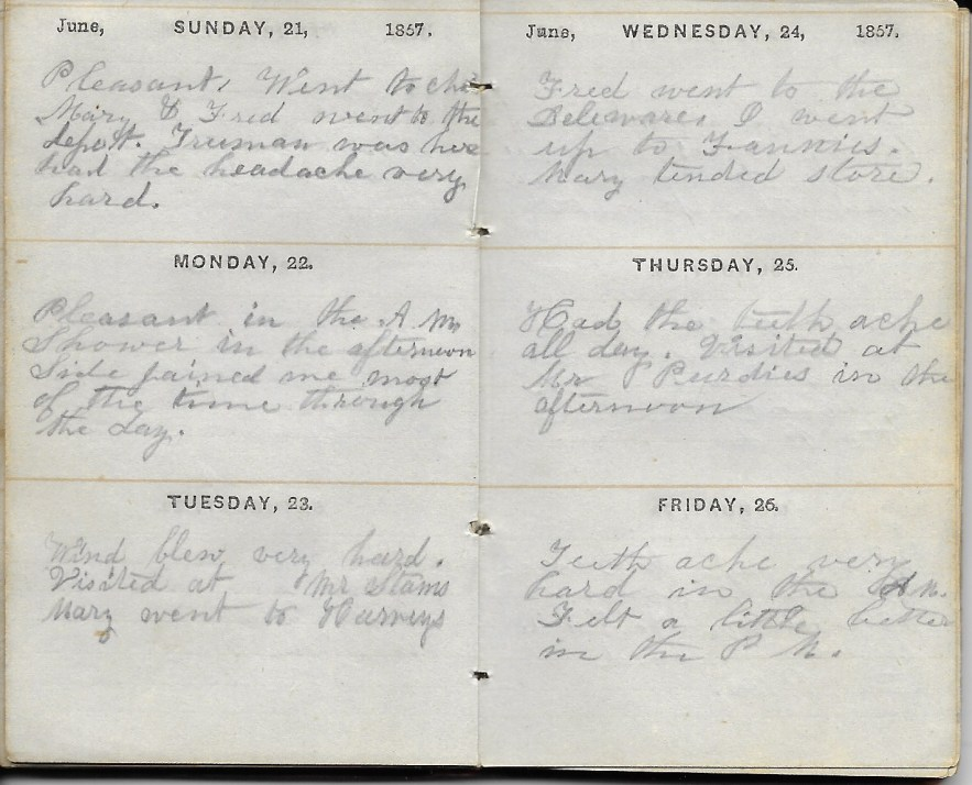 Ann M. Hull, Diary of 1857, (Susquehanna County, Pennsylvania), 21-26 June 1857, privately held by Faulkner-Hull Collection