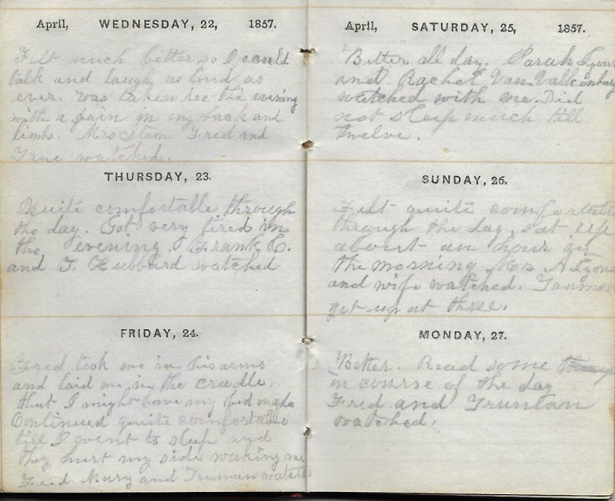 Ann M. Hull, Diary of 1857, (Susquehanna County, Pennsylvania), 22-27 April 1857, privately held by Faulkner-Hull Collection