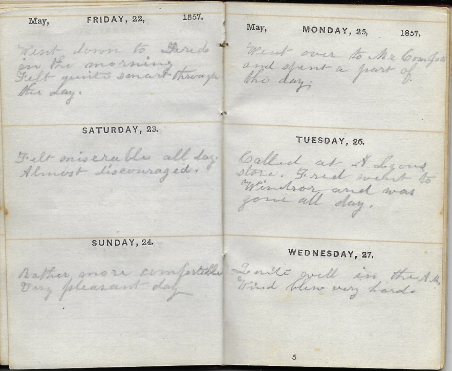 Ann M. Hull, Diary of 1857, (Susquehanna County, Pennsylvania), 22-27 May 1857, privately held by Faulkner-Hull Collection