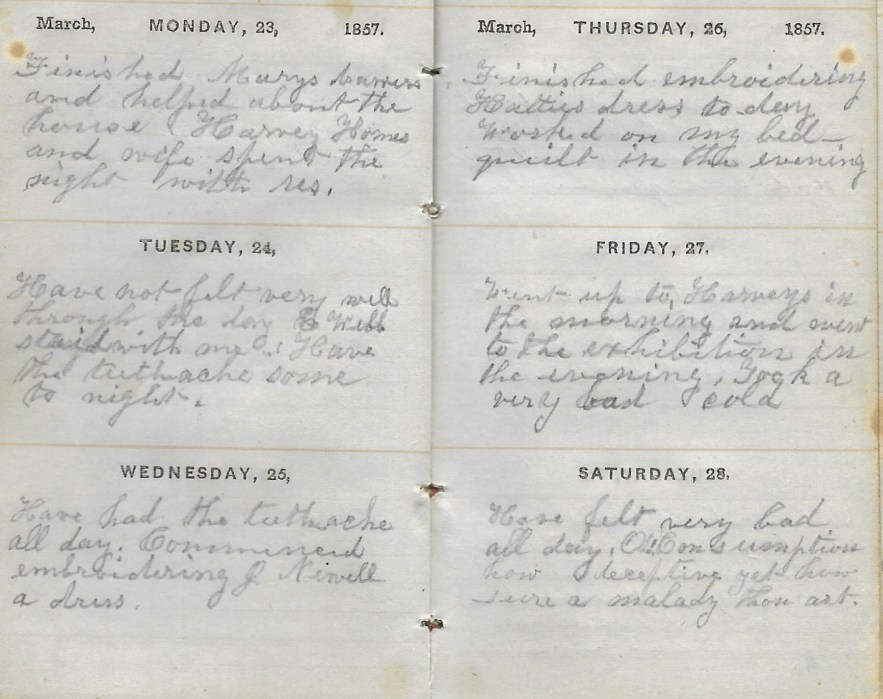 Ann M. Hull, Diary of 1857, (Susquehanna County, Pennsylvania), 23-28 March 1857, privately held by Faulkner-Hull Collection